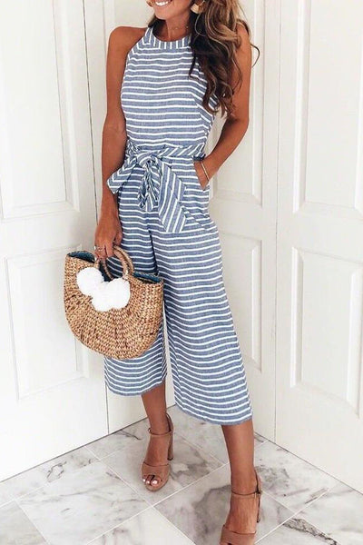 31Styles Bohemian Round Neck Striped Blue Cotton Blends One-piece Jumpsuits