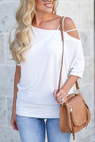 31Styles Off-The-Shoulder Solid Color Sleeve T-Shirt