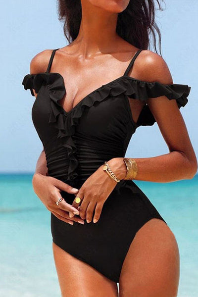 31Styles Black Ruched One Piece Swimwear