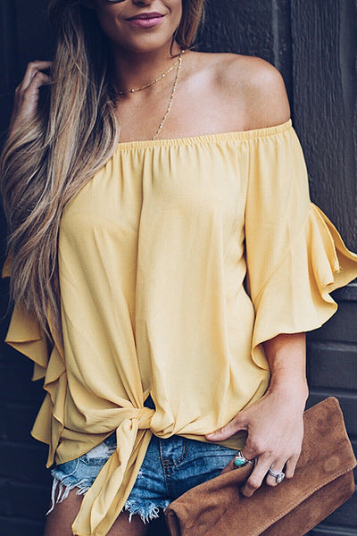 31Styles One-Shoulder Strapless long-sleeved chiffon shirt