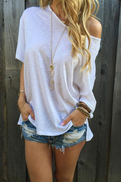 31Styles Strapless Solid Color Short Sleeve T-Shirt