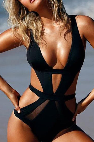 31Styles Mesh Openwork One-Piece Swimsuit