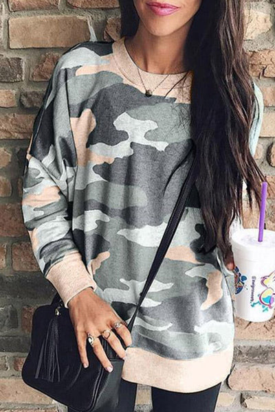 31Styles Women Camouflage Print Long Sleeve Crew Neck Loose Fit Casual Sweatshirt Pullover Tops Shirts