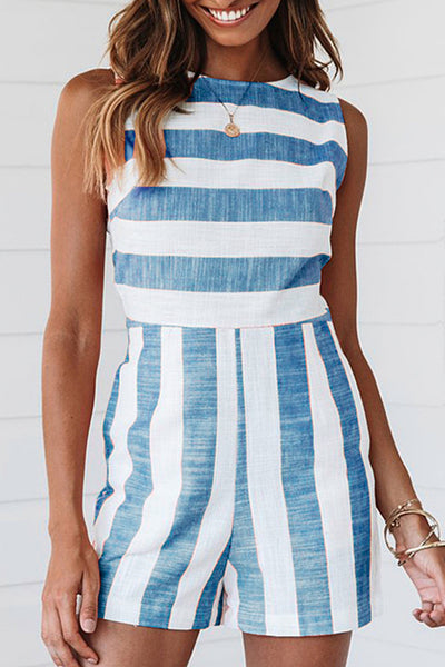 31Styles Casual Striped Rompers