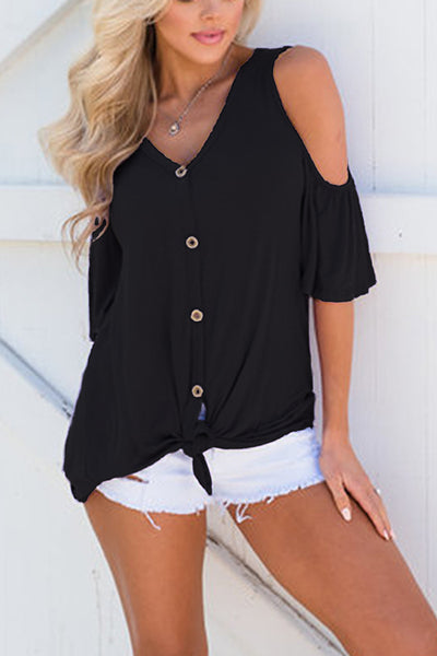 31Styles Off-the-shoulder V-neck button T-shirt