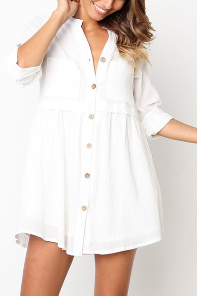 31Styles Button Front V-Neck Cotton Dress