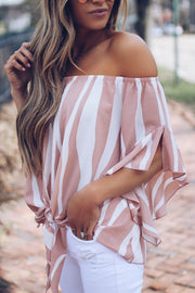31Styles Off Shoulder Tie Striped Chiffon Blouses