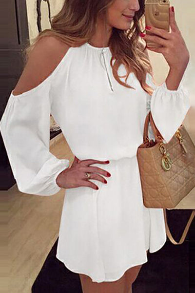 31Styles Off-The-Shoulder Strap Long Sleeve Dress