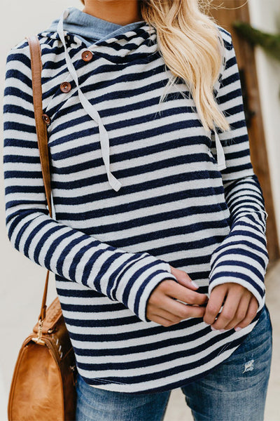 31Styles Button Blue Striped Hoodies