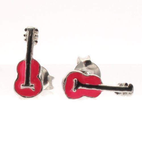 Sterling Silver and Pink Guitar Stud Earrings with Enamel