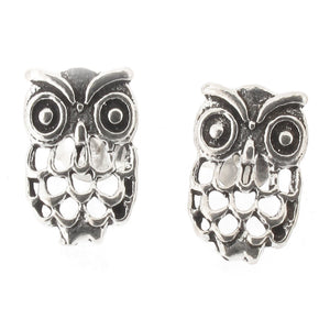 Sterling Silver Owl Designs Stud Earrings with Cut Out Detail