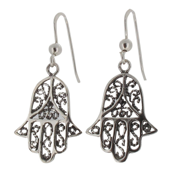 Sterling Silver Hamsa Hand Drop Earrings
