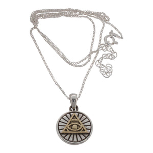Sterling Silver with Brass Detail Eye Of Providence Pendant and Chain