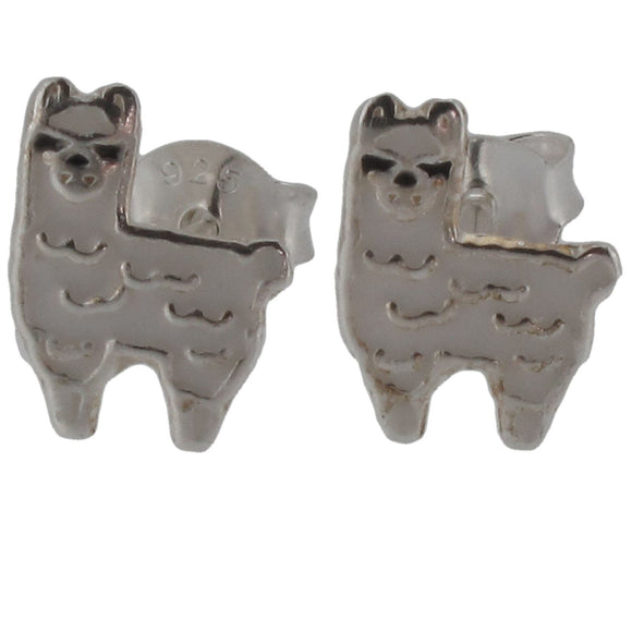 Sterling Silver Llama Design Stud Earrings with Enamel