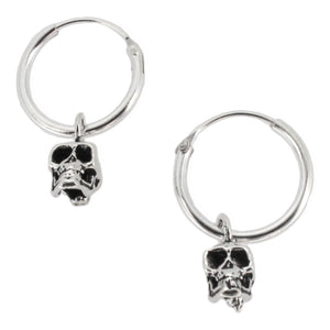 Sterling Silver Hoop Earrings with Dangling Skull