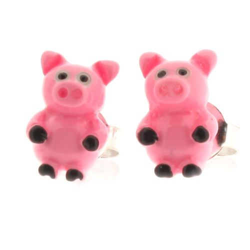 Sterling Silver and Resin Pink Pig Stud Earrings