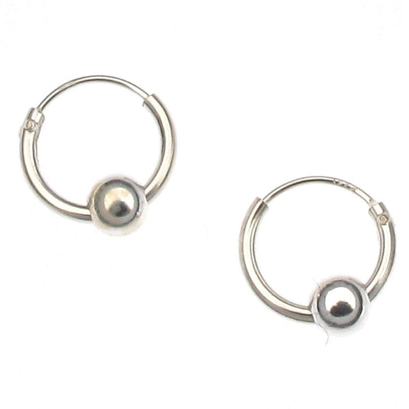 Sterling Silver Hoop & Ball Earrings | 10mm