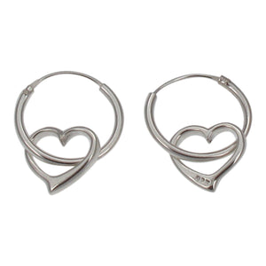 Sterling Silver Hoop Earrings with Dangling Heart Charm