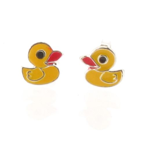 Sterling Silver Duck Stud Earrings with Yellow Enamel