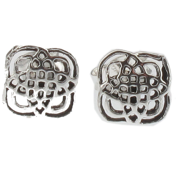 Sterling Silver Celtic Knot Work Design Square Stud Earrings