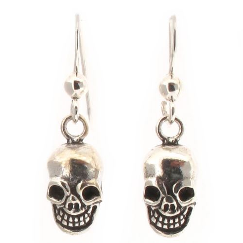 Sterling Silver Skull Design Drop Earrings
