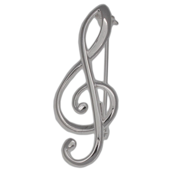 Sterling Silver Treble Clef Design Brooch