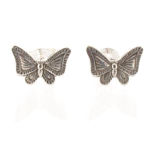 Sterling Silver Butterfly Design Stud Earrings