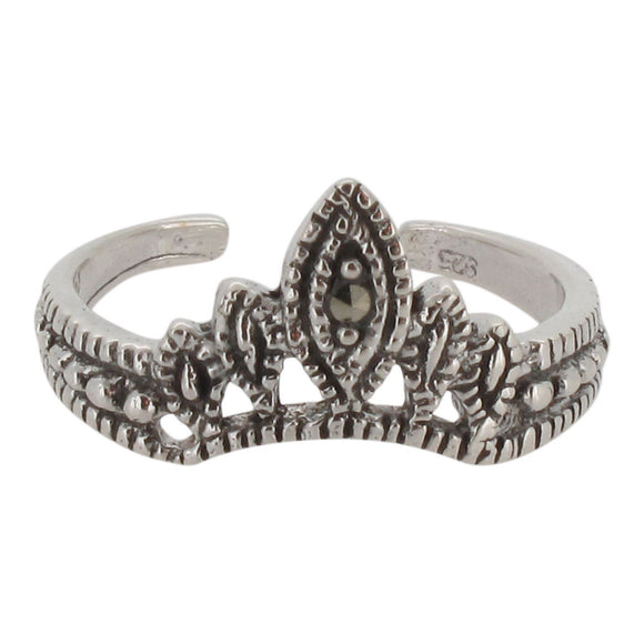 Sterling Silver Crown Toe Ring with Marcasite