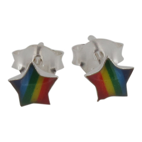 Sterling Silver Rainbow Star Stud Earrings