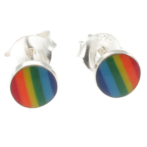 Sterling Silver Rainbow Circle Design Stud Earrings