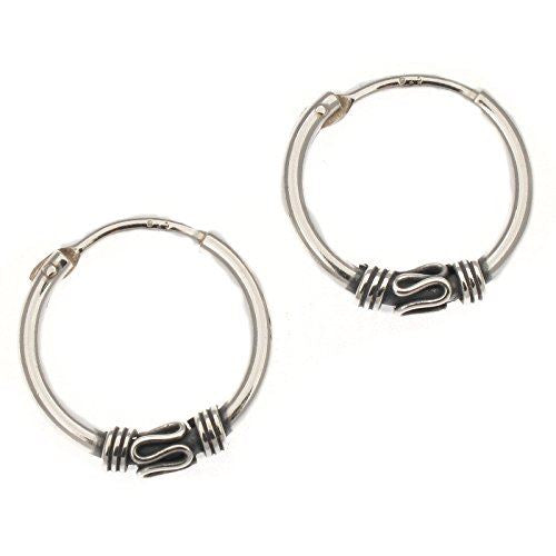 Sterling Silver Indo Bali Style Hoop Earrings | 17mm