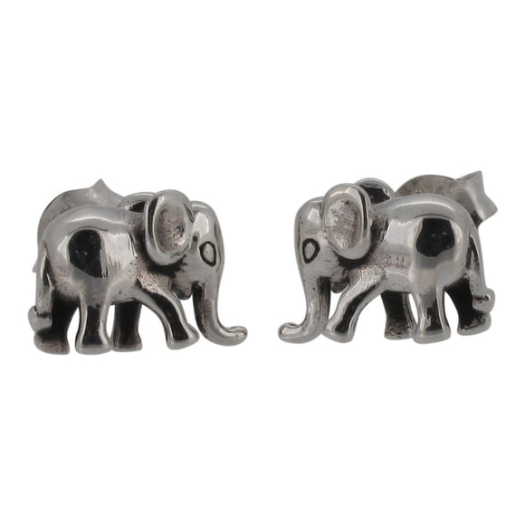 Sterling Silver Elephant Design Stud Earrings