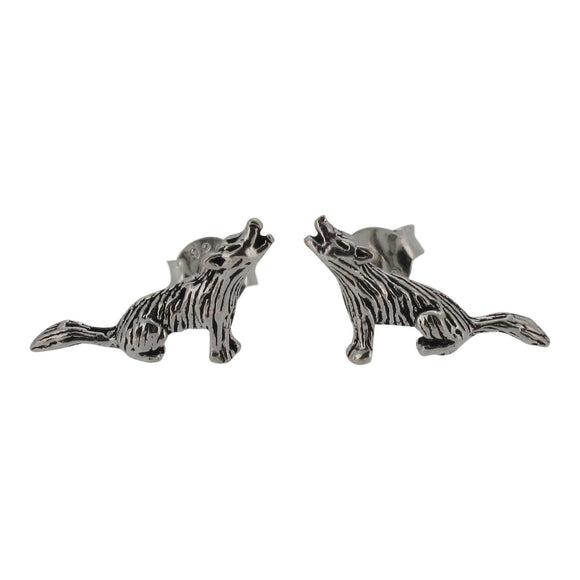Sterling Silver Howling Wolf Design Stud Earrings