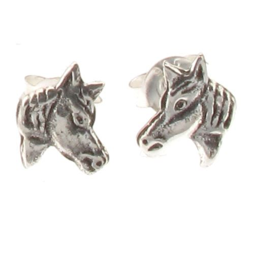 Sterling Silver Horse Pony Head Stud Earrings