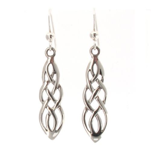 Sterling Silver Celtic Knotwork Design Drop Earrings