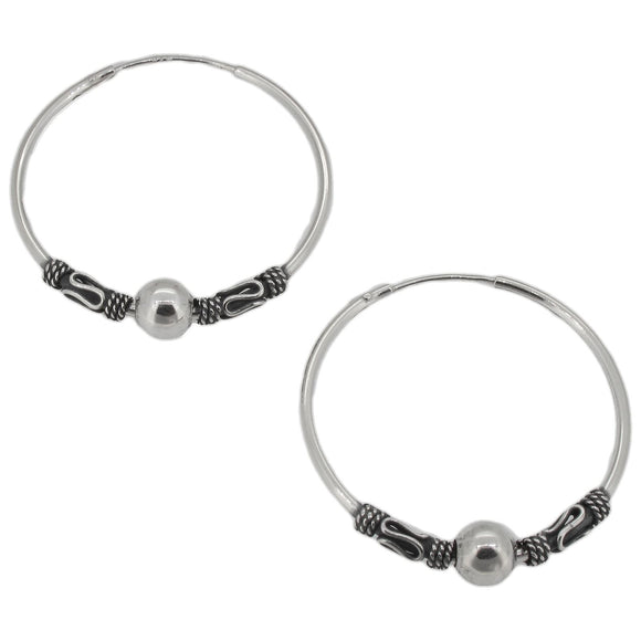 Sterling Silver Indo Bali Style Hoop Earrings with Ball | 27mm