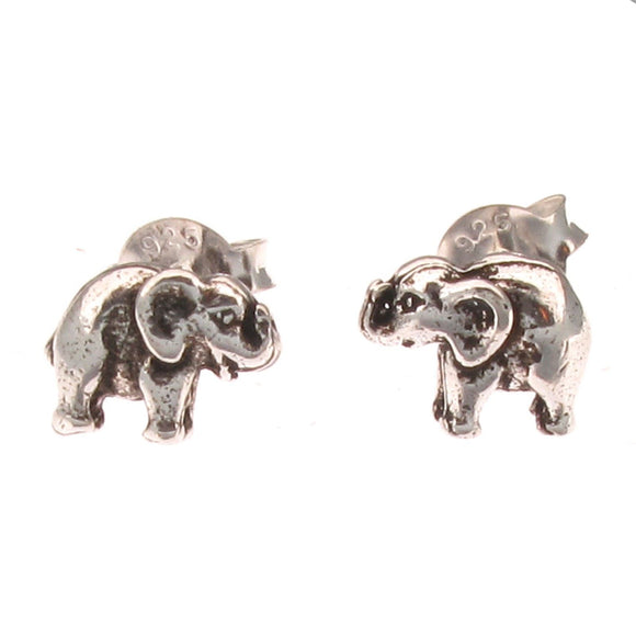 Sterling Silver Tiny Elephant Stud Earrings