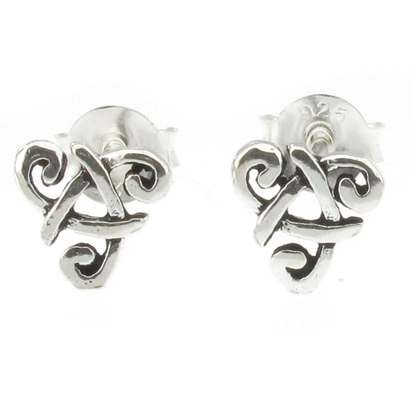 Sterling Silver Upside Down Celtic Triangle Stud Earrings