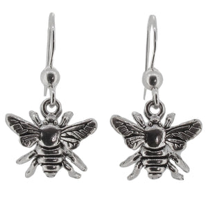 Sterling Silver Honey Bee Drop Earrings
