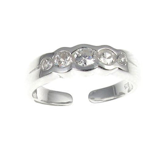 Sterling Silver Clear Crystal 5 Stone Toe Ring