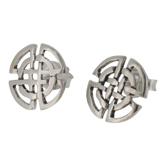 Sterling Silver Circular Celtic Design Stud Earrings