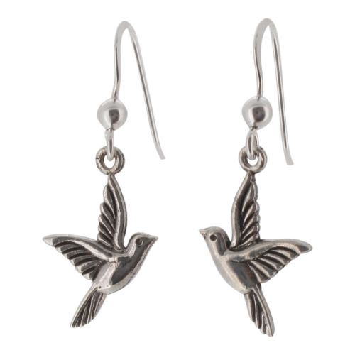 Sterling Silver Cute Bird Drop Earrings