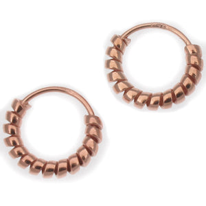 Sterling Silver Tiny Twisted Hoop Earrings with Rose Gold Plate | 10mm