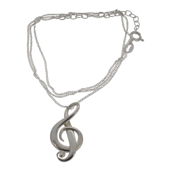 Sterling Silver Treble Clef Pendant and Chain