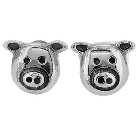 Sterling Silver Pig Face Studs