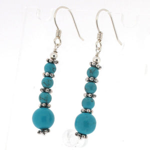 Sterling Silver Turquoise Bead Drop Earrings