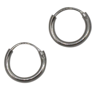 Sterling Silver Ruthenium Plated Hoop Earrings | 8mm