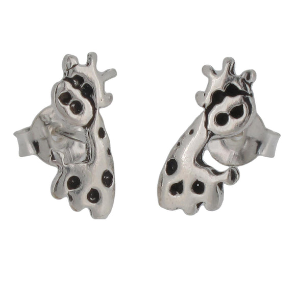 Sterling Silver Giraffe Design Stud Earrings