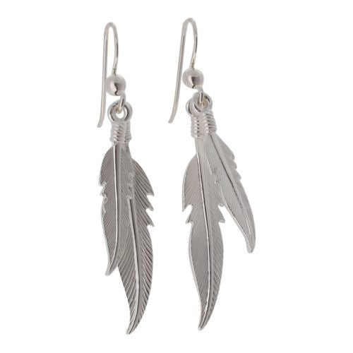 Sterling Silver Twin Feathers Drop Earrings