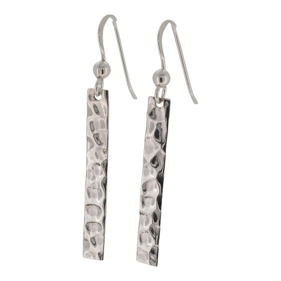Sterling Silver Hammered Bar Design Drop Earrings